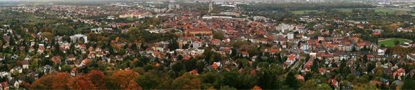 Kilátás a Karlsruhe-i kilátóból