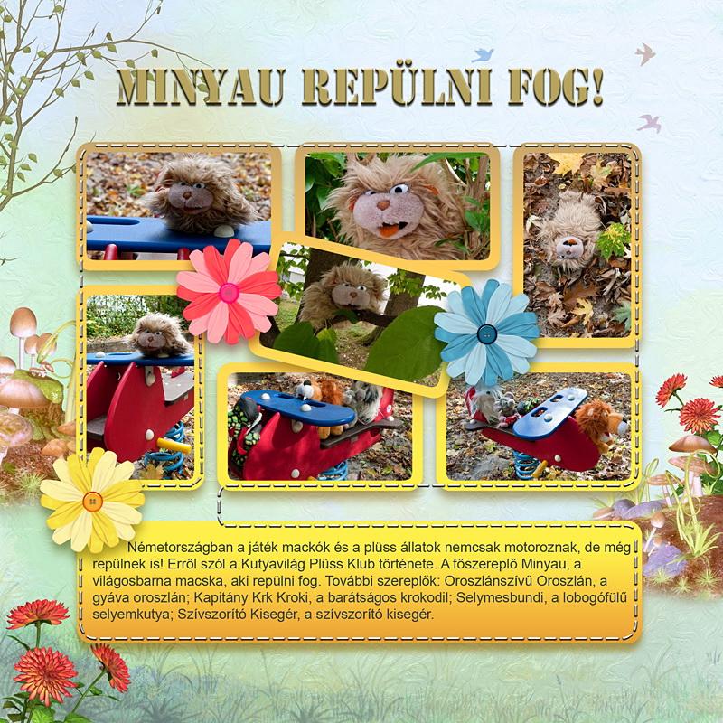 Repülő plüss állatok: Minyau repülni fog - Scrapbook ajándék Szép Macicsaládéktól